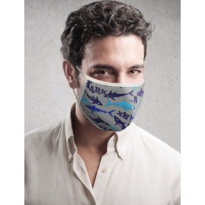 PASSION Reuseable Two Layer Cotton Face Mask, Blue Sharks on Grey Background, One Size