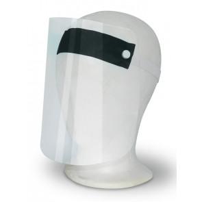 Gesichtsschutzvisier aus transparentem Kunststoff, schwarzes  Stirnband mit elastischem Kopfband