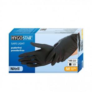 Hygostar SAFE LIGHT, Nitrile Disposable Gloves, Powder-free, Black, S, 20 pieces