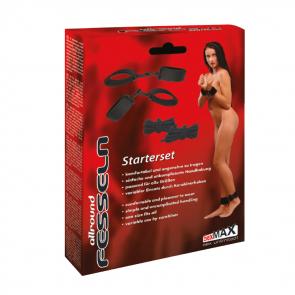 JoyDivision SexMAX allroundFESSELN, Starterset, Cuffs & Ropes, Polyester/PP, Black